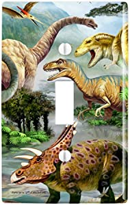 GRAPHICS & MORE Dinosaur Jurassic Dinoscape Plastic Wall Decor Toggle Light Switch Plate Cover