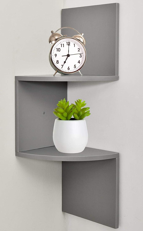 Greenco Zigzag 2 Tier Corner Floating Shelves, Espresso. GRC2968