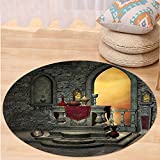 VROSELV Custom carpetGothic Decor Ancient Altar Holy Table in Castle Baroque Inspired Alchemy Wizard Design for Bedroom Living Room Dorm Grey Yellow Round 72 inches