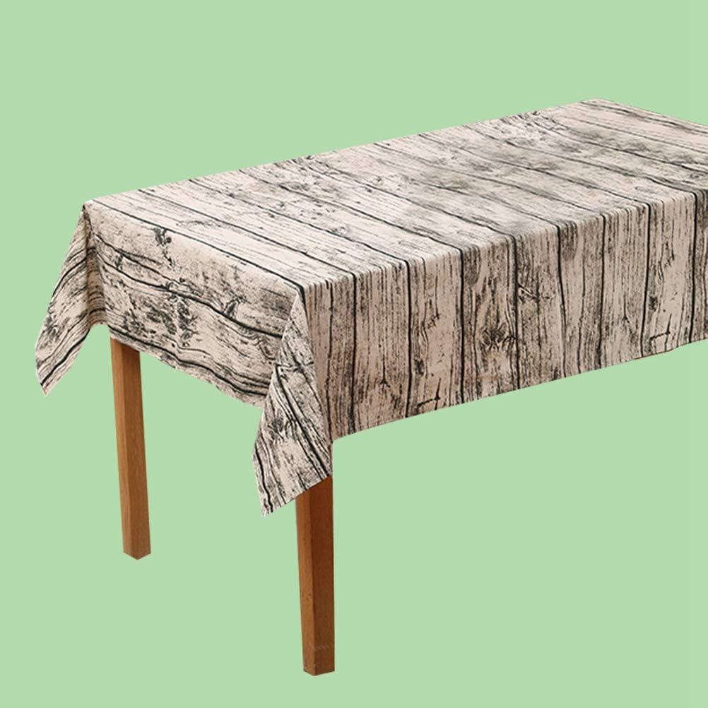 Wood Grain Vintage Wood Grain Tablecloth Cotton Linen Rustic Rectangle Washable Table Cover Wood Grain Bark Imitation Linen Table Cloth