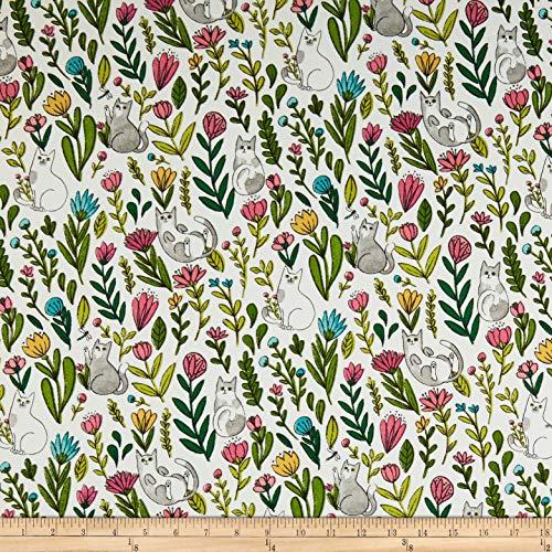 Flower Catnip - Windham Fabrics Whistler Studios Catnip Flower Cats White, Fabric by the Yard