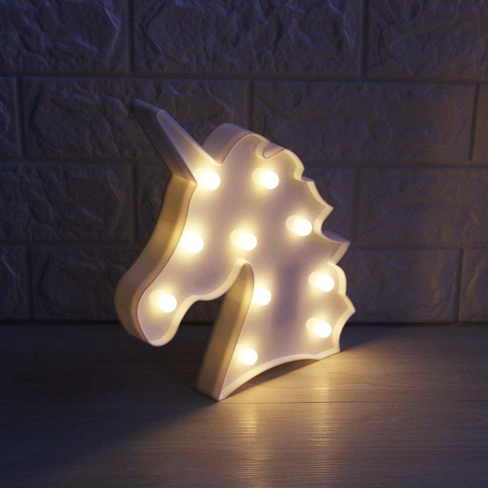 Pooqla Remote Control 3D Rainbow Unicorn Color Changing Unicorn Lamp Girls Night Light with Diamond Light Bulb Unicorn Birthday Gifts Party Supply Big Eye Unicorn Head Colorful Glow