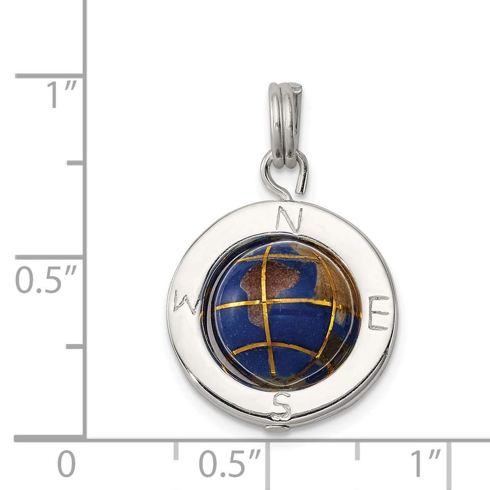 Mia Diamonds 925 Sterling Silver Solid Enameled Globe Charm 20mm x 17mm