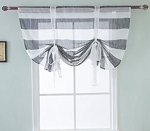 ZebraSmile Stripe Pattern Semi Sheer Kitchen Voile Curtain Rod Pocket Transparent Window Curtain Roman Curtain Lifable Curtain, 39.5(W) X47(H) in, Gray