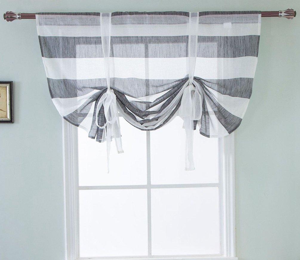 ZebraSmile Stripe Pattern Transparent Roman Curtain Lifable Curtain Rod Pocket Semi Sheer Kitchen Roman Window Curtain, 47(W) X47(H) in, Gray