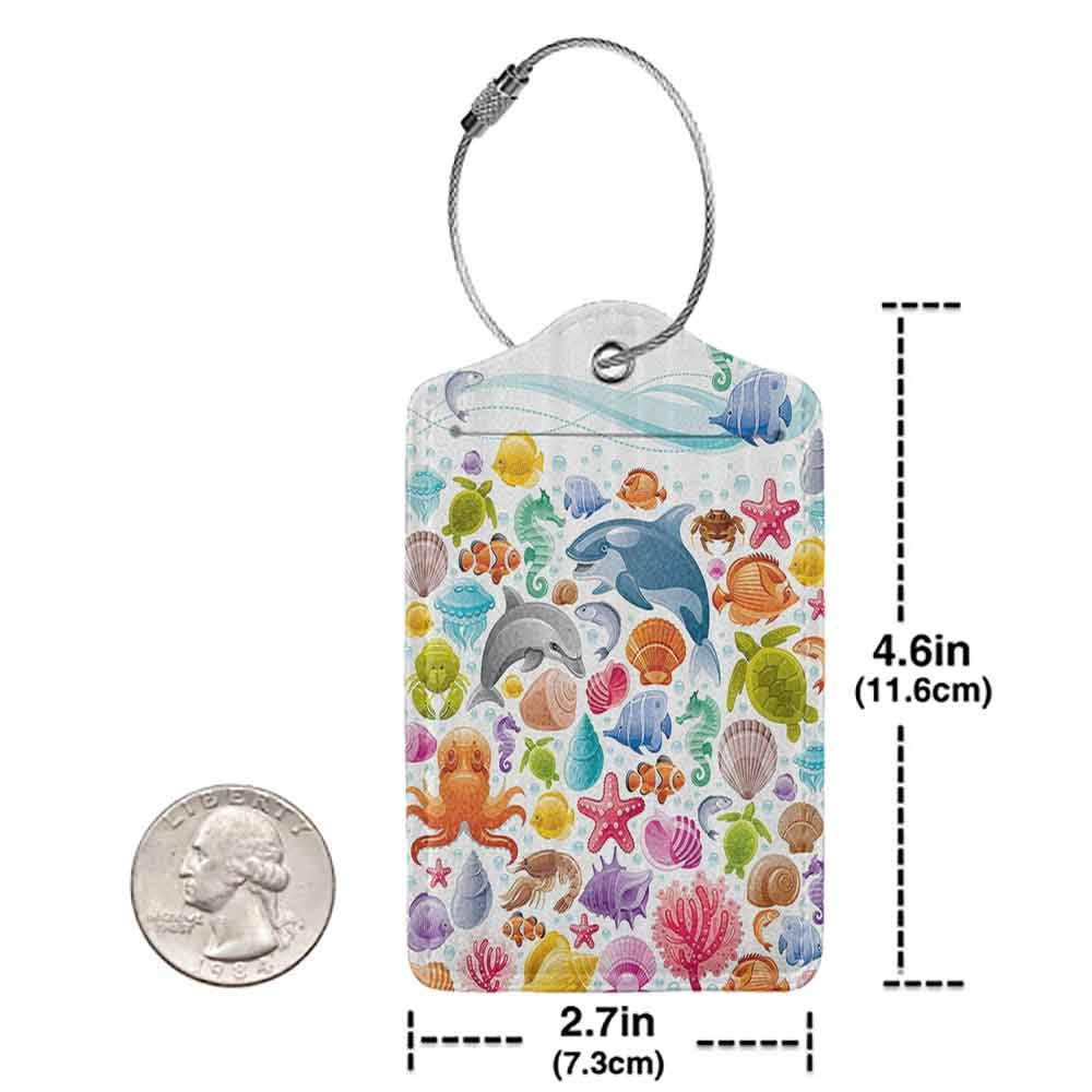 Multi-patterned luggage tag Animal Decor Diving Sea Animals Collection with Marine Element and Objects Whale Corals Underwater Concept Double-sided printing Multi W2.7 x L4.6