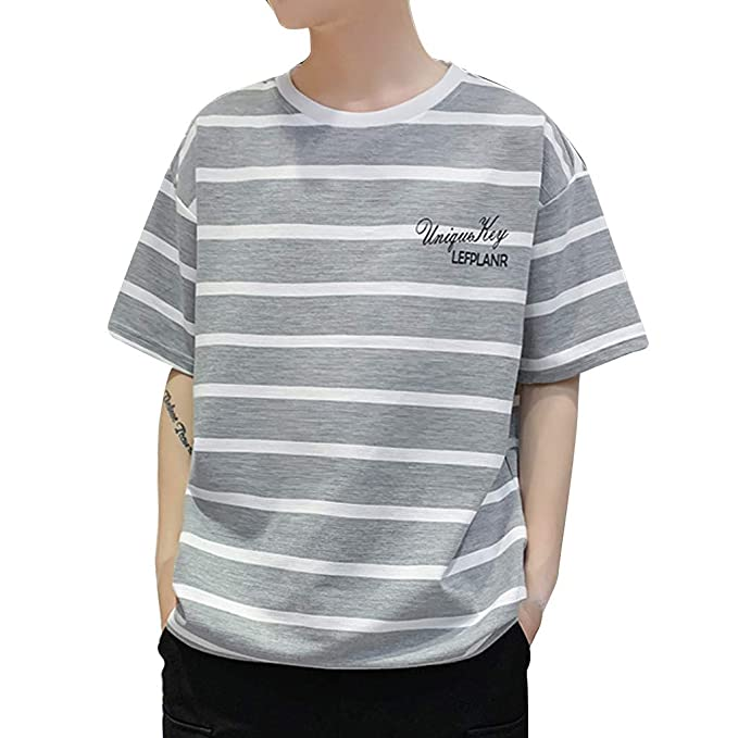 36999ef96534ff Pandaie Mens Blouse Shirts Men s New Summer Casual Stripe Printing Loose  Sports Short Sleeve T-