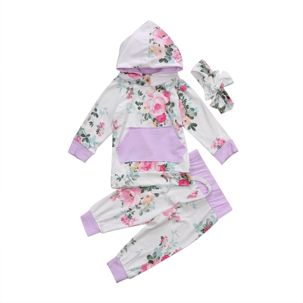 Newborn Baby Girl Floral Hoodie Tops Long Pants Outfits with Headband Clothes ITFABS