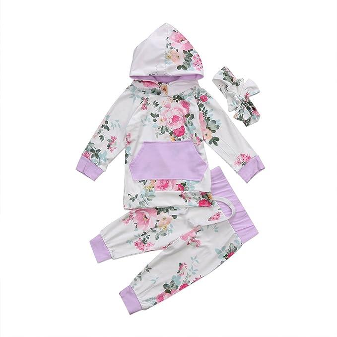 Amazon.com: Ropa de bebé recién nacido niña Floral Sudadera ...