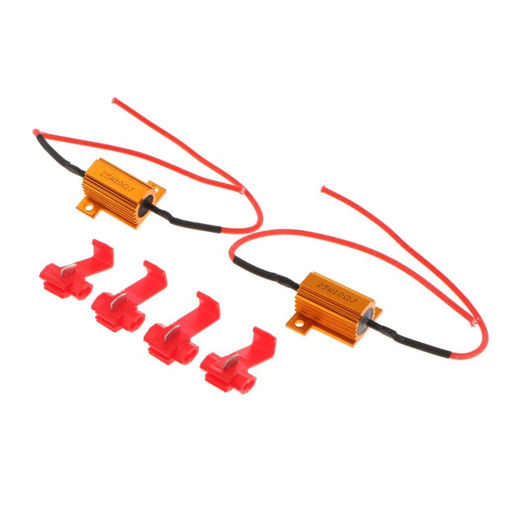 MagiDeal 2 Pezzi 12v 25w Resistore Di Carico Fix Indicatori Di Direzione A Led Lampadina Iper Flash 25 Ohm - 6 ohm
