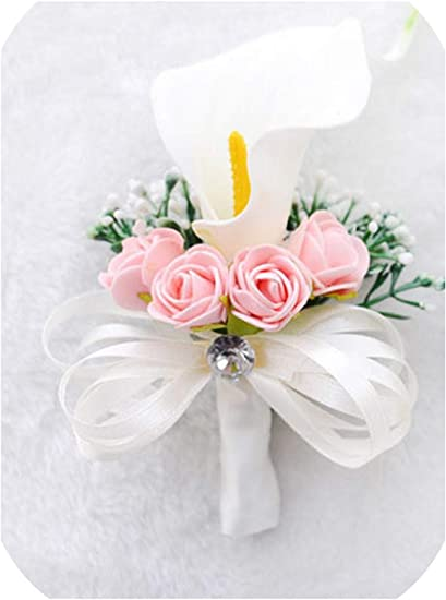 Amazon Com Boutonnieres Roses Wrist Flower For Bride White Pink