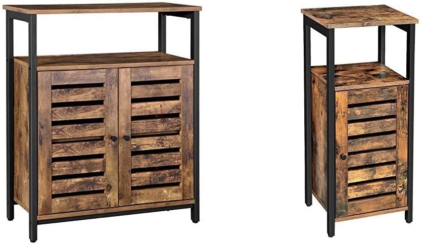 VASAGLE Lowell Standing Cabinet, Storage Cabinet, Rustic Brown ULSC76BX & Lowell Storage Cabinet, Standing Cabinet, Industrial Floor Cabinet, Multifunctional in Living Room, Rustic Brown ULSC34BX