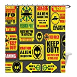 Liguo88 Custom Waterproof Bathroom Shower Curtain Polyester Outer Space Decor Warning Ufo Signs with Alien Faces Heads Galactic Paranormal Activity Design Yellow Decorative bathroom