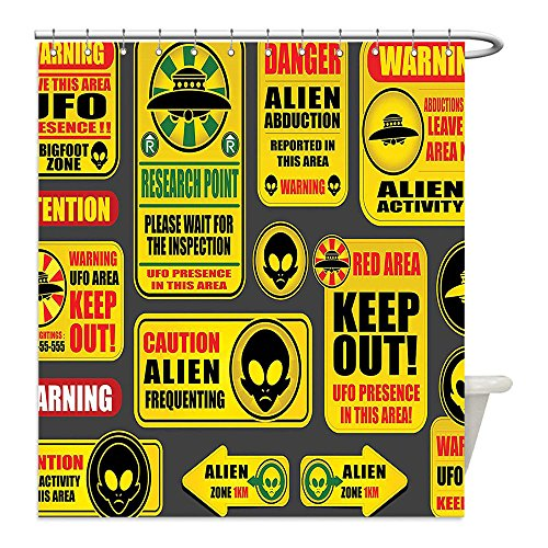 Liguo88 Custom Waterproof Bathroom Shower Curtain Polyester Outer Space Decor Warning Ufo Signs with Alien Faces Heads Galactic Paranormal Activity Design Yellow Decorative bathroom by liguo88