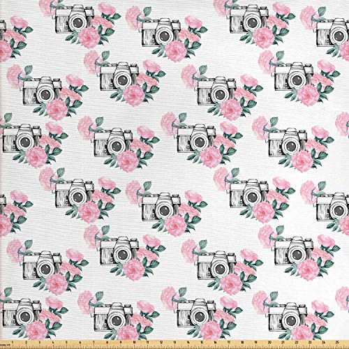 Lunarable Camera Fabric by The Yard, Vintage Photo Cameras and Rose Bouquets with Watercolor Effect, Decorative Fabric for Upholstery and Home Accents, 1 Yard, Pale Pink Reseda Green and Grey