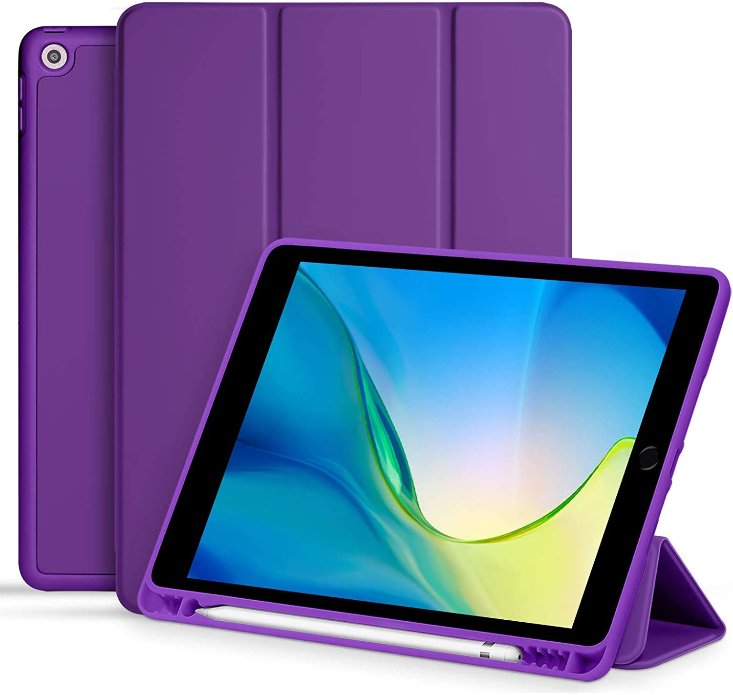 Akkerds Case for iPad 10.2 2020 iPad 8th Generation/2019 iPad 7th Generation with Pencil Holder, Premium Protective Case with Soft TPU Back, Auto Sleep/Wake Cover for iPad 8th/7th Gen, Purple