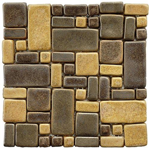 Beige Mosaic Tile Flooring - SomerTile FDXKDC1 Heritage Goldstone Glazed Ceramic Mosaic Floor and Wall Tile, 12