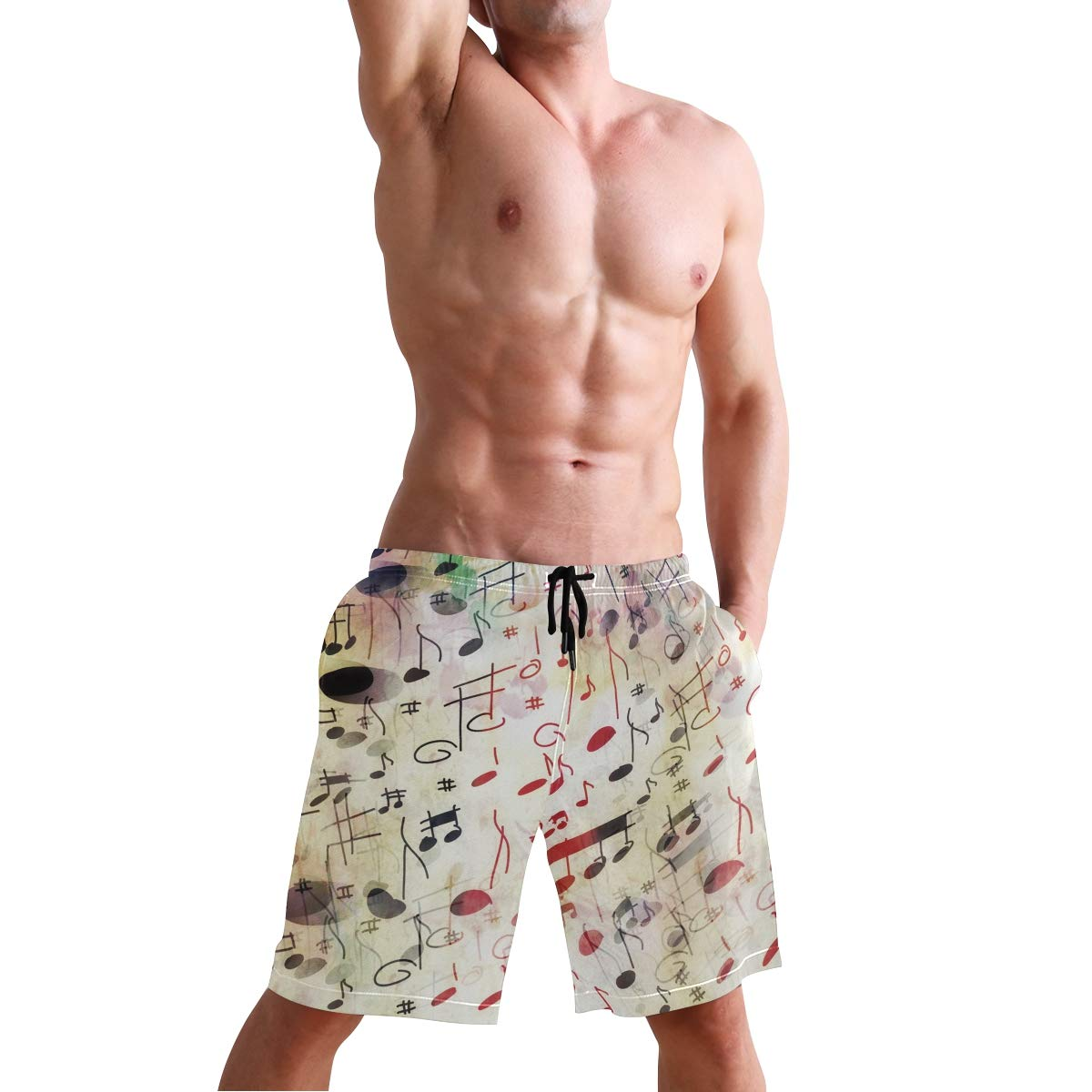 REBACAT Watercolor Music Note Mens Swim Trunks Quick Dry Beach Board Shorts with Drawstring Pocket