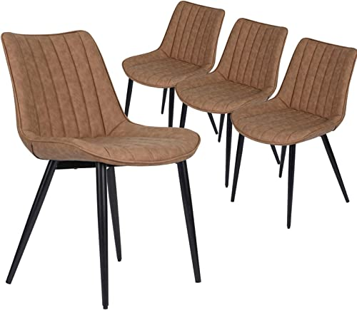 HOMHUM Faux Leather Dining Chairs Set of 4 Mid Century Modern Leisure Upholstered Chair