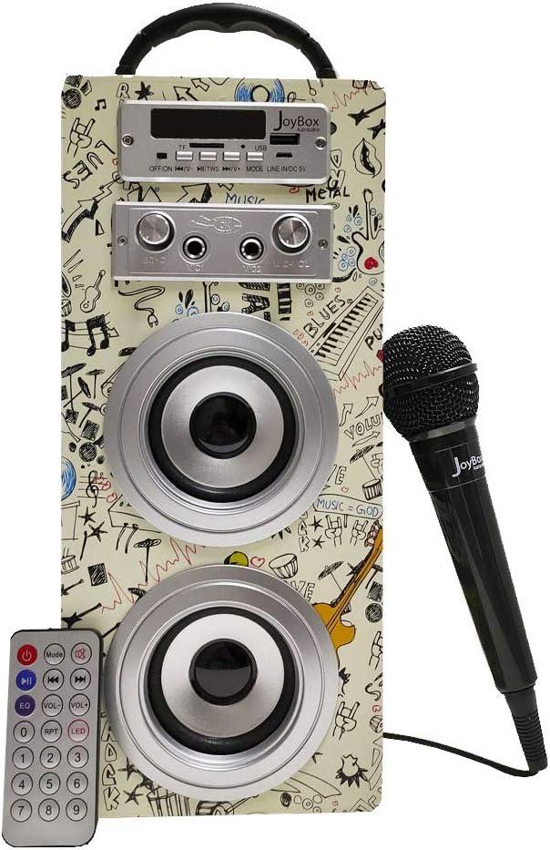 Biwond JoyBox Pocket Altavoz 10W + Micrófono (Bluetooth TWS, Mando IR AUX, Radio FM, Tarjeta SD, USB, Pantalla LED) – Guitar