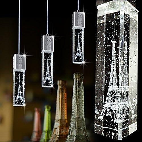 Injuicy Lighting K9 Clear Crystal Column Eiffel Tower Single Head Bubble Column Crystal Droplight