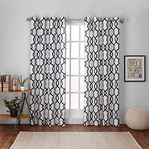 Exclusive Home Curtains Kochi Linen Blend Window Curtain Panel Pair with Grommet Top, 54x84, Indigo, 2 Piece (Designs Pergola Luxury)