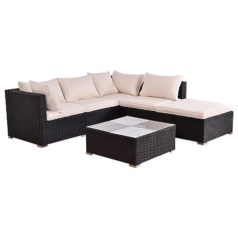 Tangkula - Muebles de mimbre para exteriores (6 a 10 piezas ...