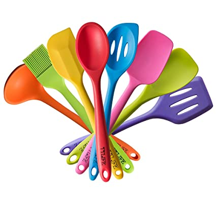 colorful kitchen utensils. Simple Kitchen TTLIFE Silicone Spatula Kitchen Utensils Of 8 Pieces Colorful Cooking  With Turner Slotted Spoon For L