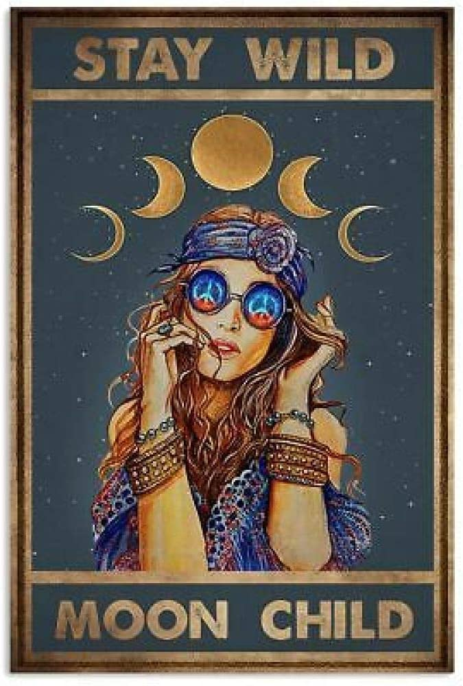 Stay Wild Moon Child Retro Metal Tin Sign Vintage Aluminum Sign for Home Coffee Wall Decor 8x12 Inch