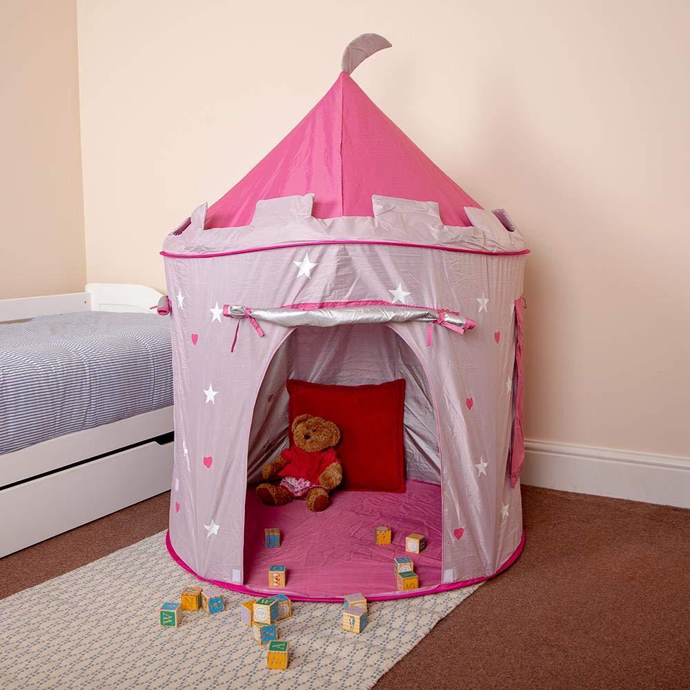 Beauty4Less Wido Childrens Kid Pink Castle Pop Up Tent Play House Indoor Outdoor Garden Girl