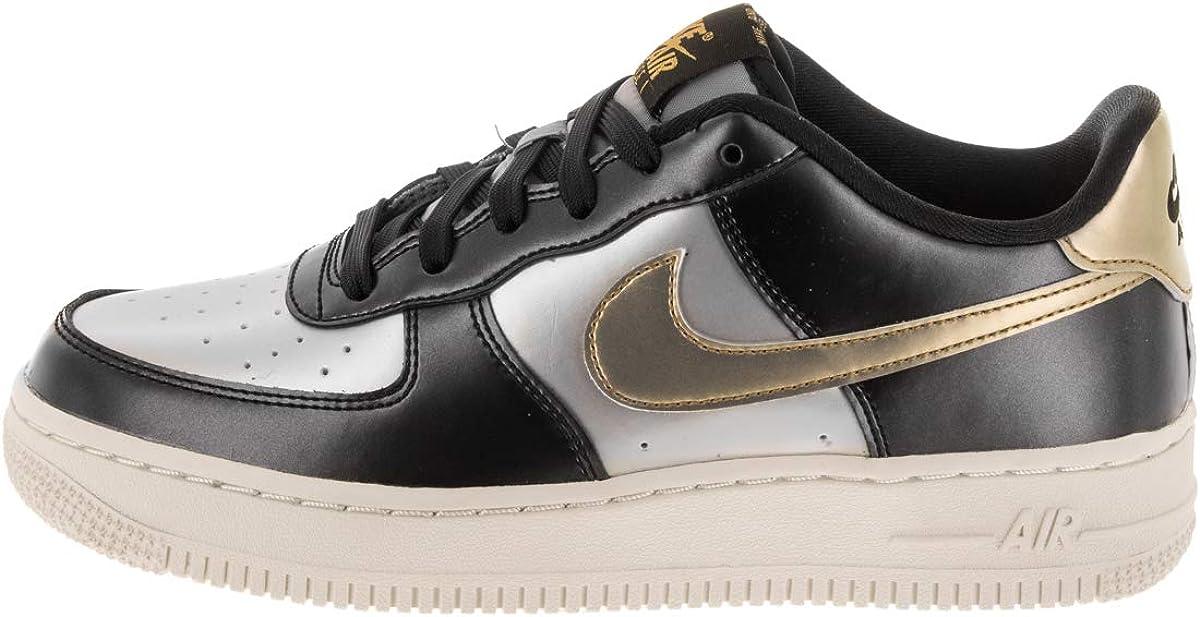 Nike Air Force 1 LV8 GS Trainers 849345 Sneakers Chaussures Gris Métallisé Doré Métallisé