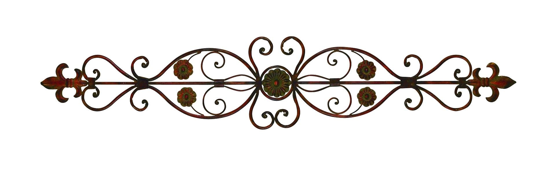 Deco 79 80052 Fleur-de-Lis and Scrollwork Classic Wall Decor, 56''W, 11''H, Rust Brown Finish by Deco 79