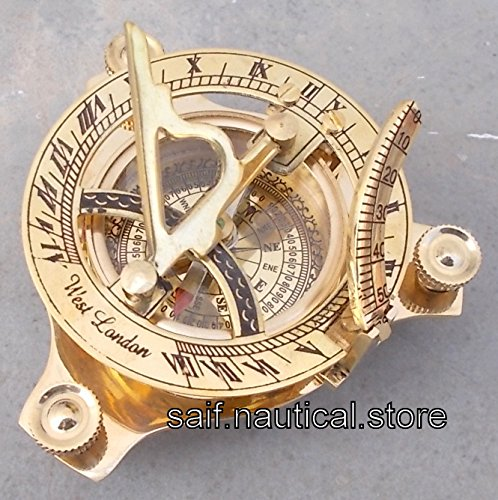 Nautical London Sundial Compass Marine Working Pocket Compass Gift 3'' Brass West A by saif.nautical.store