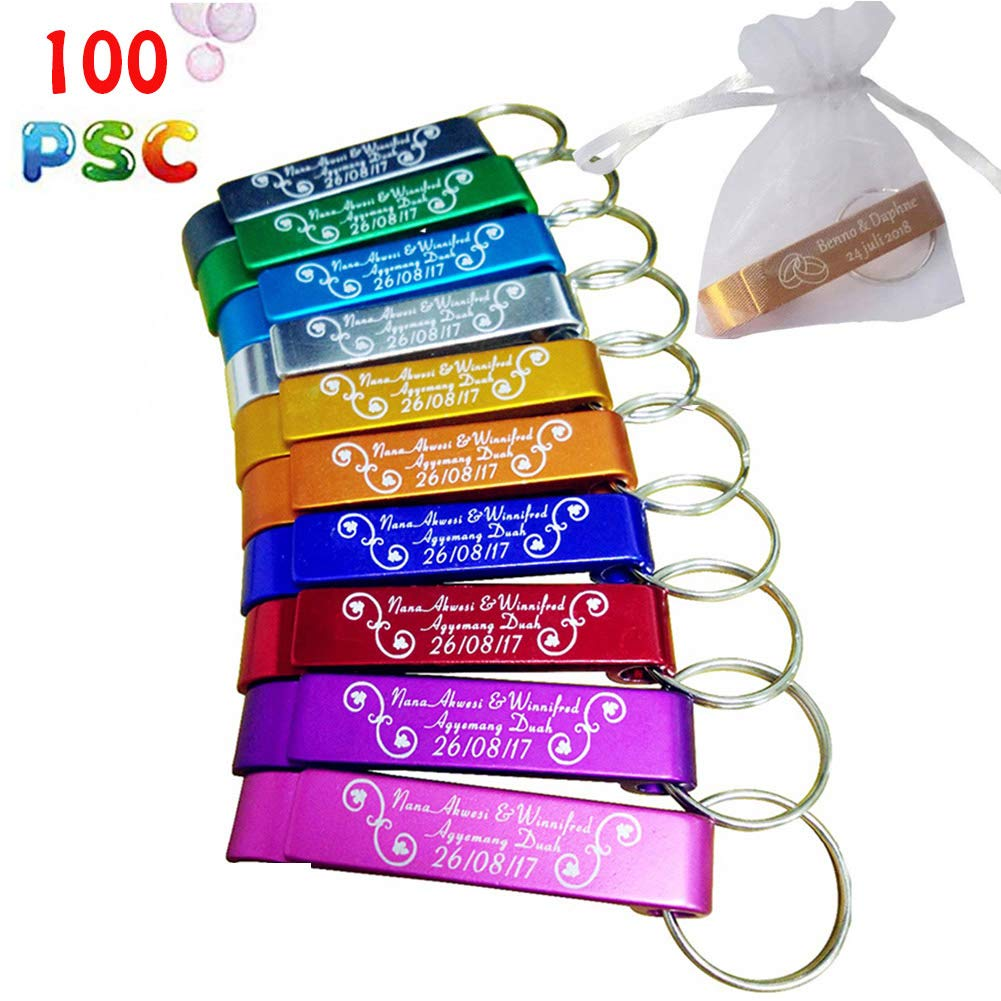 100pcs Personalized Bottle Opener With Organza bags, Wedding Favors, Engraved Bottle Openers, Engraved Keychain,Party Favors, Custom Wedding, Customized Favor (100 Pcs + Bag) by clibesty