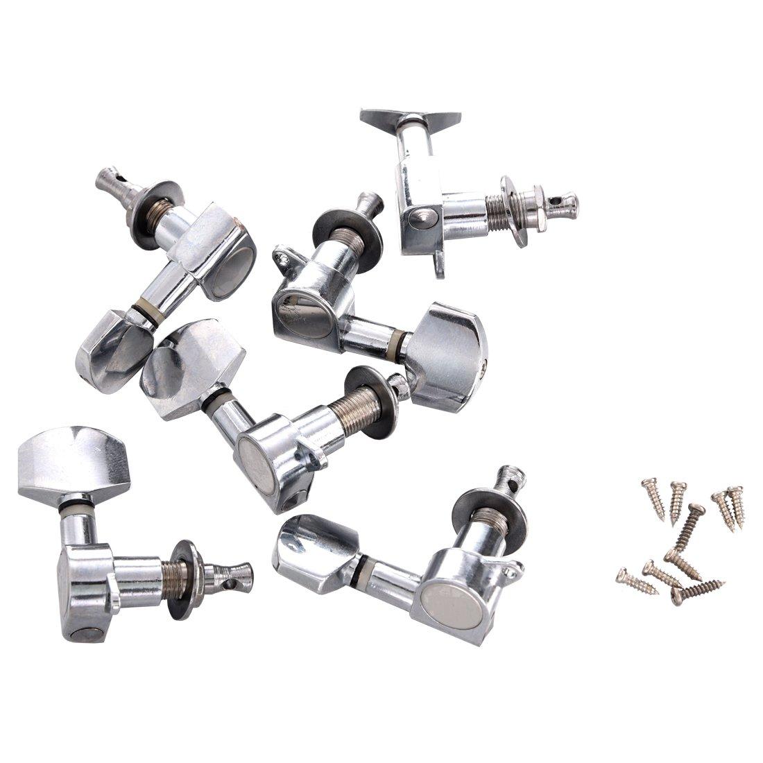Cikuso Set di 6 pz meccaniche Chitarra cromate Tuner Chitarra Accessori