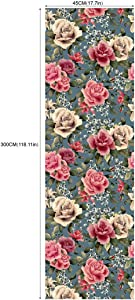 Taogift Self Adhesive Vinyl Vintage Rose Floral Shelf Liner Contact Paper Dresser Drawer Cabinets Liner Furniture Paper Wall Sticker Peel and Stick Floral Wallpaper 17.7x117 Inches