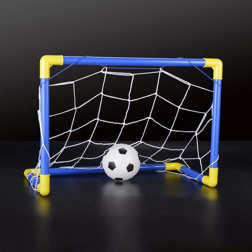 Nihlsen Folding Mini Football Soccer Goal Post Net Set with Pump Kids Sport Indoor Outdoor Games Toys Child Birthday Gift Plastic