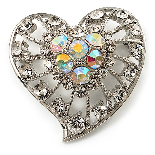 Avalaya Silver Plated Crystal Filigree Heart Brooch