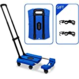 Portable Folding Luggage Cart with 6 Wheels and 2 Free Rope Upgrade Large Wheels with Brakes Withstand 440 Pounds Hand Truck (Blue)