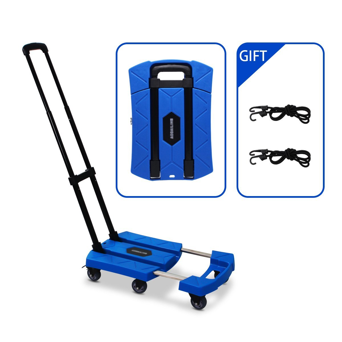 Portable Folding Luggage Cart with 6 Wheels and 2 Free Rope Upgrade Large Wheels with Brakes Withstand 440 Pounds Hand Truck Blue
