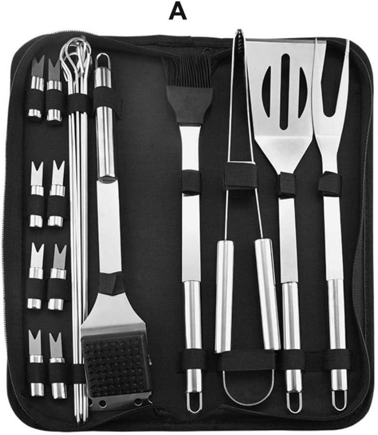 BBQ Grill Tool Set,Home Outdoor Portable Bag Barbecue Tools Turner Brush Tong Needle Mesh Metal Net Grilling BBQ Tools 3/9/20Pcs 16 Pcs