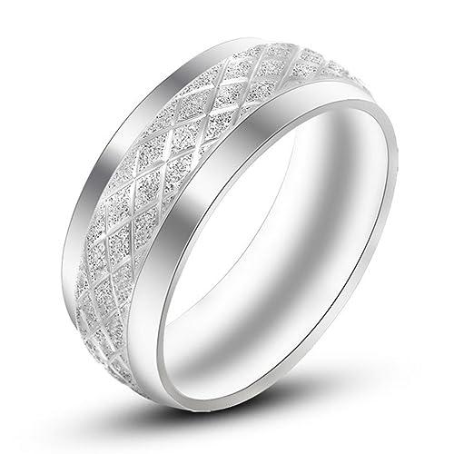 lilileo joyería 8 mm acero inoxidable rombos arena superficie matrimonio anillo de compromiso para Unisex Anillos