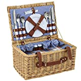 ZENY Wicker Picnic Basket 4 Person Wicker Hamper Set with Flatware, Plates and Wine Glasses Includes Tableware & Blanket (4 Person)