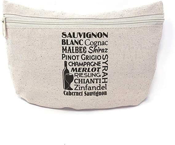 Custom Canvas Makeup Bag Sauvignon Blanc Cognac Mable Shiraz Pinot Food & Beverage School Supplies Pencil Canvas Tote Pouch 9x6 Inches Natural Design Only