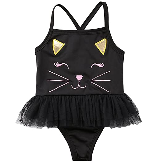 699e0cb4a Kid Toddler Baby Girls Bathing Suit Cat Face One Piece Swimsuit Swimwear  (Black, 12