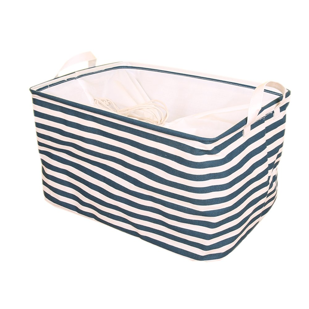 BUYUE Baby Quilt Toy Books Shelf Baskets Storage Organization Collapsible Fabric Organizer with lid 17.3''×11.8''×9.8'' H (Blue Stripe)