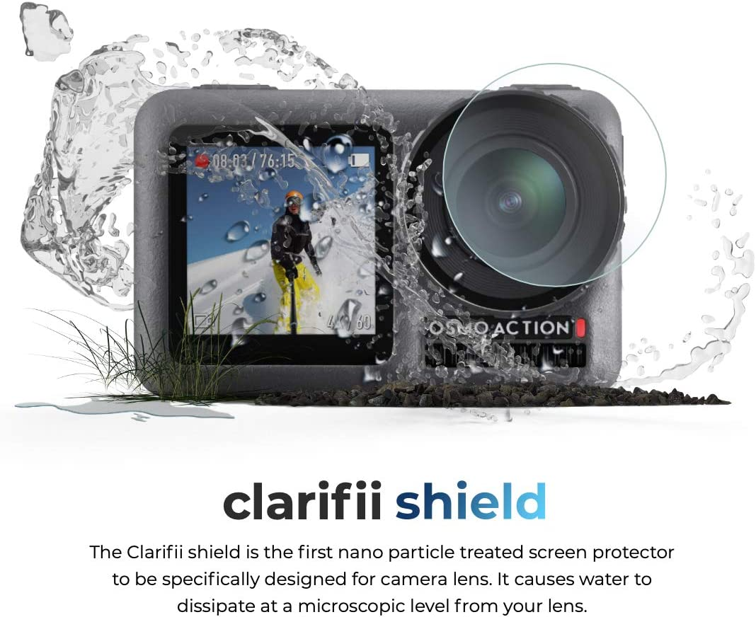 Repel Water Clarifii Osmo Action Hydrophobic Screen Protector for Osmo Lens Mud Repellent Screen Protector for Osmo Action Accessories by Clarifii Dirt Fog