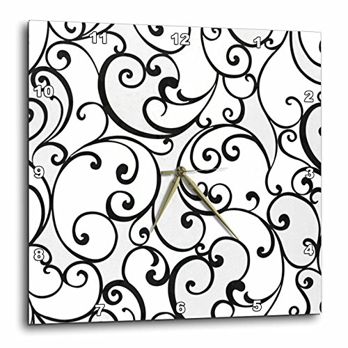 3dRose dpp_61904_1 Black Scrolls on White Wall Clock, 10 by