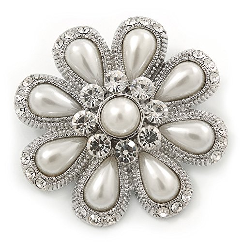 - Avalaya Bridal Rhodium Plated White Glass Pearl, Clear Crystals 'Daisy' Brooch - 50mm Diameter