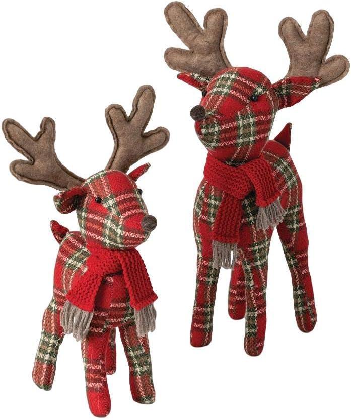 Sullivans Rustic Plaid Reindeer Figurines, Set of 2